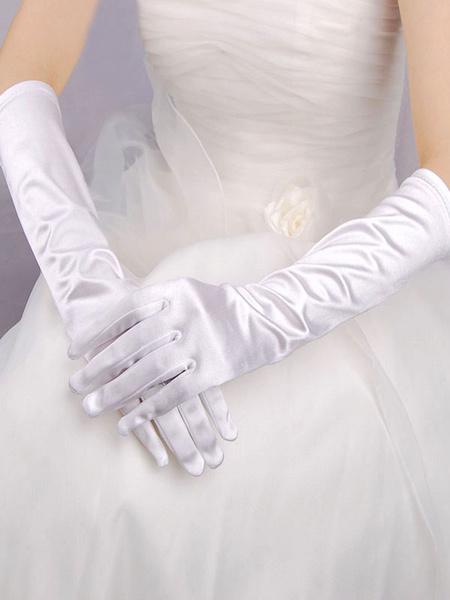 Milanoo Black Wedding Gloves Elbow Length Satin Long Bridal Gloves