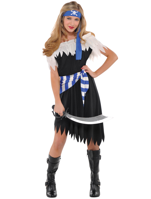 Damen-Kostuem Kleid Piratin blau/weiss 3-tlg. 12-14 Jahre Grosse: 12-14 Jahre