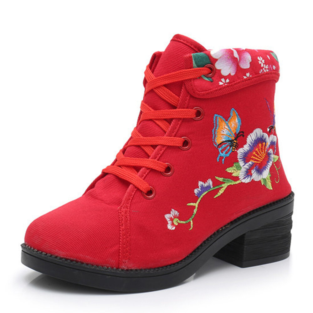 Women Folkways Floral Embroidery Softy Sole Comfy Lace-up Casaul Ankle Boots