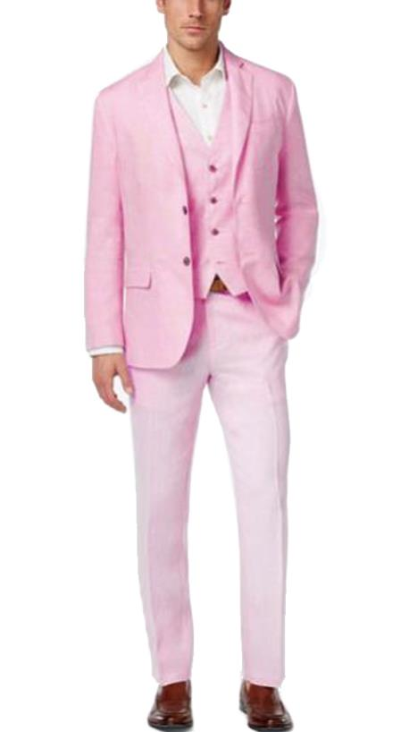 Alberto Nardoni Mens Summer Baby pink Color Linen Three Piece Suit