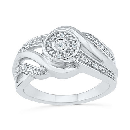 Promise My Love Womens Diamond Accent Genuine White Diamond Sterling Silver Promise Ring, 6 , No Color Family