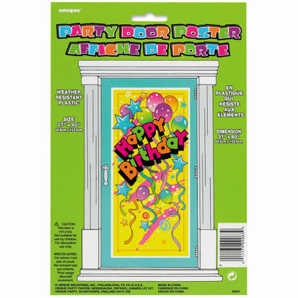 Plastic Happy Birthday Door Poster for Home Party Decoration, 60 x 27