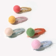 5pcs Baby Pom-pom Decor Hair Clip
