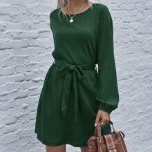 Drop Shoulder Rippenstrick Kleid mit Guertel