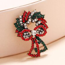 Christmas Rhinestone Decor Wreath Brooch