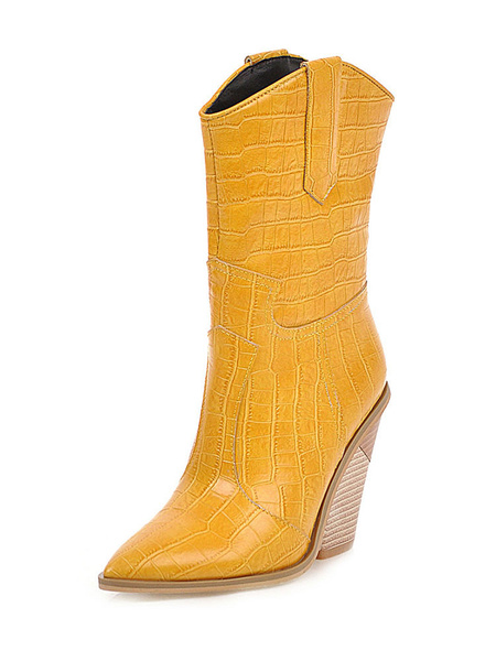 Milanoo Woman Mid Calf Boots Crocodile Cowboy Boots Pointed Toe 3.9 Special-shaped Heel Shoes
