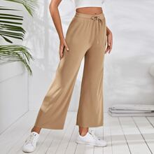 Drawstring Waist Wide Leg Solid Pants