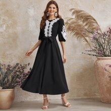 3D Applique Guipure Lace Panel Belted Dress