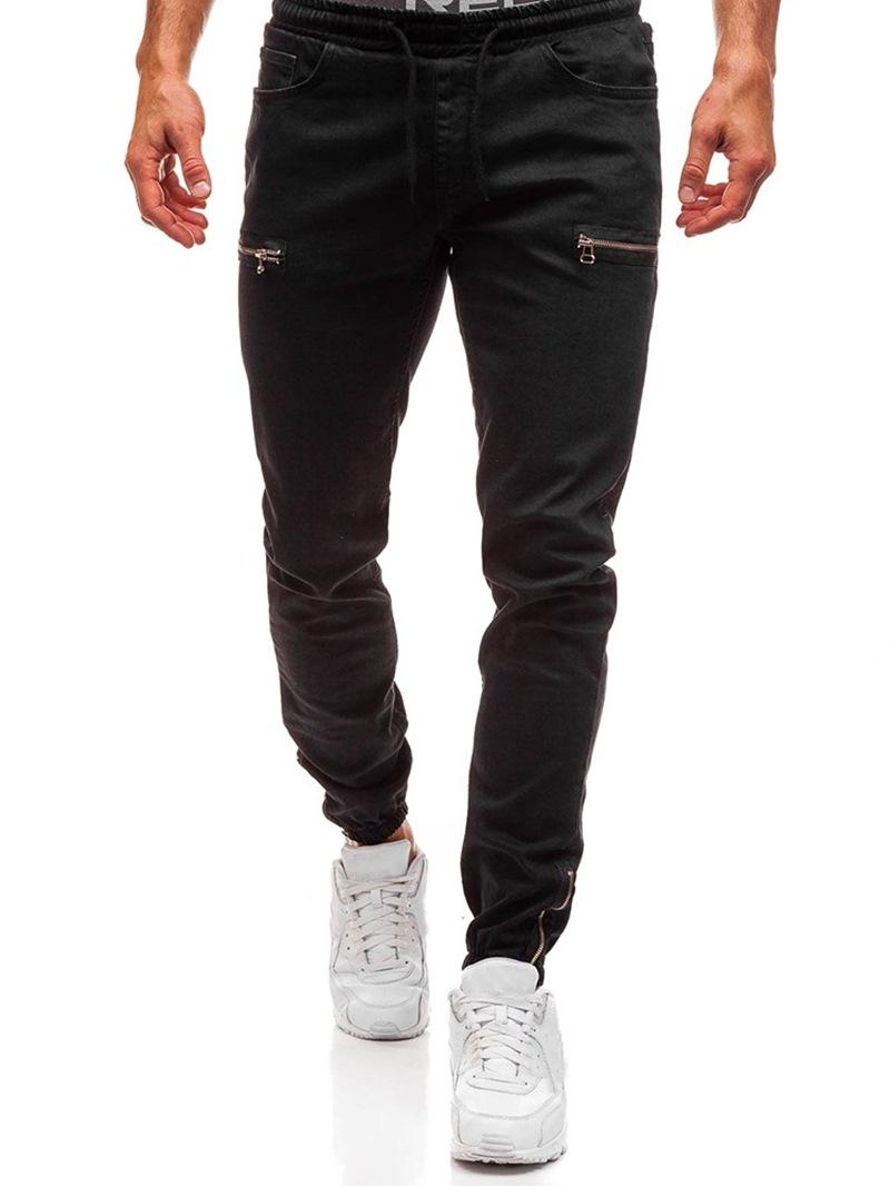Ericdress Pocket Pencil Pants Plain Lace-Up Casual Jeans