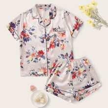 Floral Print Pocket Front Satin PJ Set