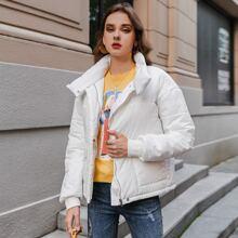 Zip & Button Placket Drop Shoulder Puffer Jacket