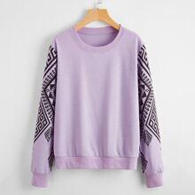 Greek Print  Round Neck Sweatshirt