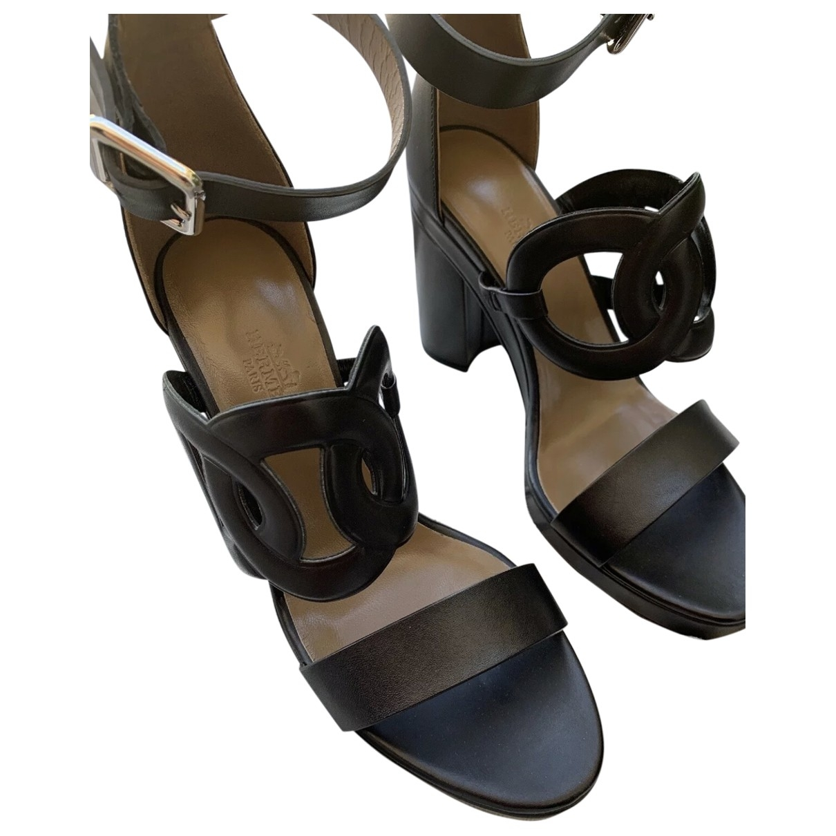 Hermès \N Black Leather Sandals for Women 38.5 EU