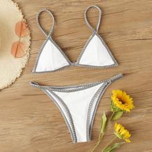 Rippenkontrast Binding Triangle Top Mit Tanga Bikini Set
