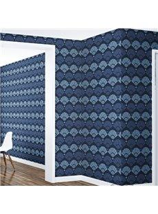 3D Blue Fans Pattern PVC Sturdy Waterproof Eco-friendly Self-Adhesive Wall Mural