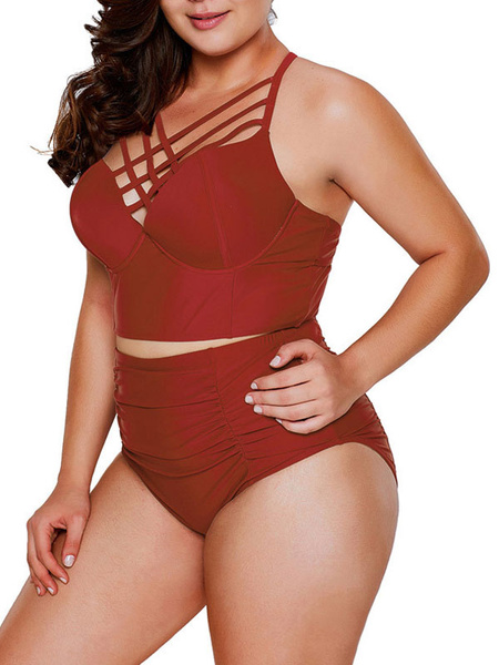 Milanoo Women Two Piece Swimsuits Burgundy Cut Out V-Neck Natural Waist Summer Sexy Swimming Suits