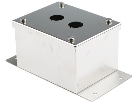 Eaton Grey Stainless Steel M22 Push Button Enclosure - 2 Hole 22mm Diameter