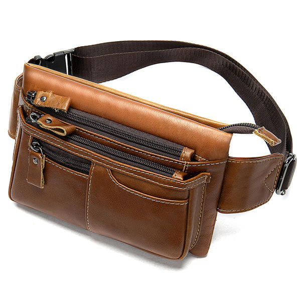 MVA Men Genuine Leather Zipper Casual Waist Bag