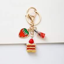 Schluesselbund mit Kuchen & Erdbeere Dekor