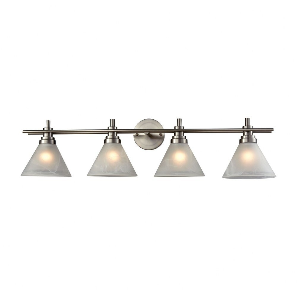 Four Light Bath Vanity with Cone Shaped Shades Round Back Plate Straight Arms - Transitional (Brushed Nickel)