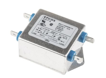 EPCOS B84111A Series 10A 250 V ac 60Hz Flange Mount RFI Filter, with Tab Terminals, Single Phase