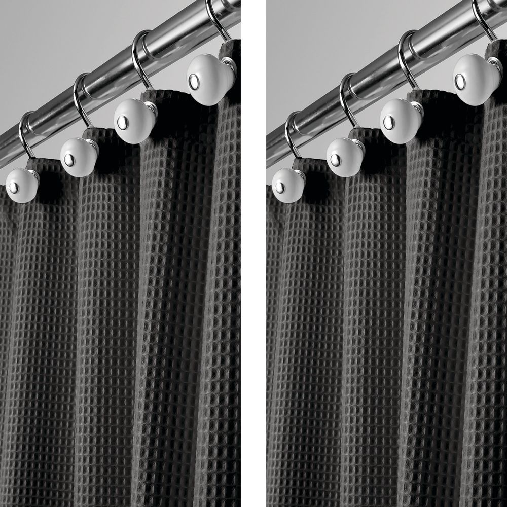 LONG Waffle Weave Fabric Shower Curtain - - Pack of in Black, 72