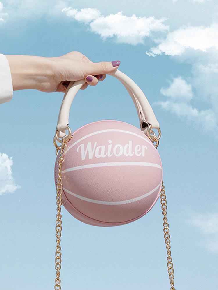 Women Basketball Chains Casual PU Handbag Crossbody Bag