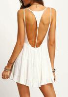 Open Back Spaghetti Strap Ruffled Mini Dress without Necklace - White