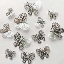 12pcs Hollow Butterfly Wall Decoration