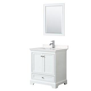 Deborah 30 Inch Single Vanity, Cultured Marble Top, 24 Inch Mirror (White, Light-Vein Carrara Cultured Marble)
