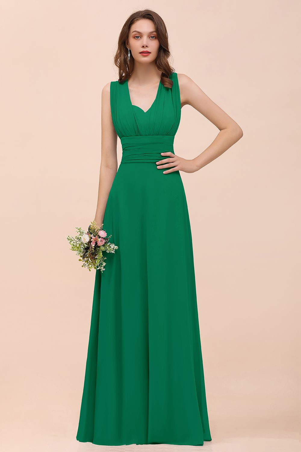 BMbridal New Arrival Affordable Dusty Blue Ruched Long Convertible Bridesmaid Dresses