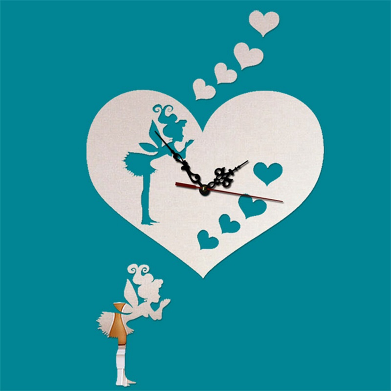 Love Heart And Fairy Pattern Self-adhesive 3 Color Simple Design 3D Acrylic DIY Specular Mute Wall Clock