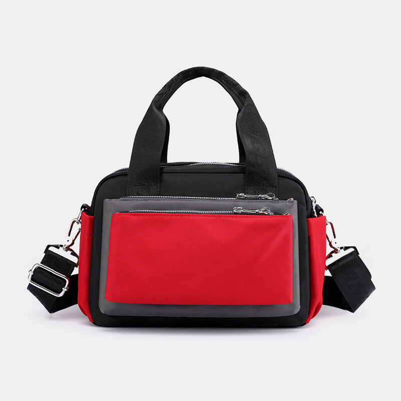 Women Nylon Patchwork Waterproof Multi-pocket Travel Shoulder Bag Handbag