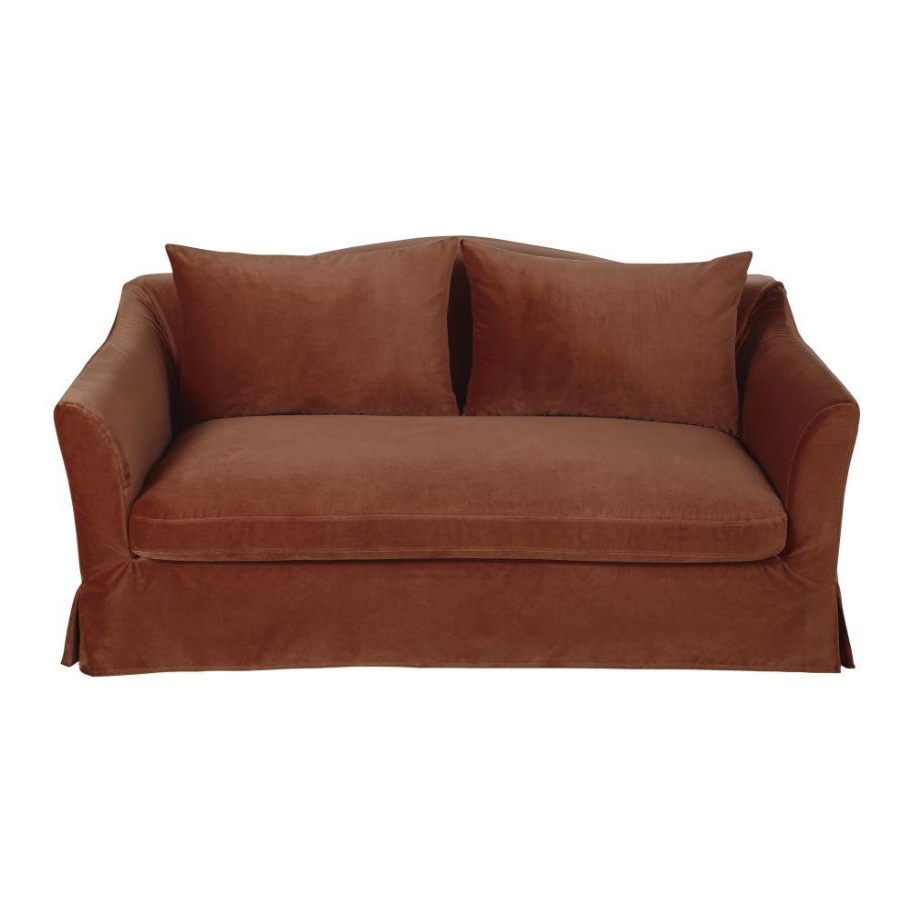2-Sitzer-Schlafsofa mit terrakottafarbenem Samtbezug Anaelle