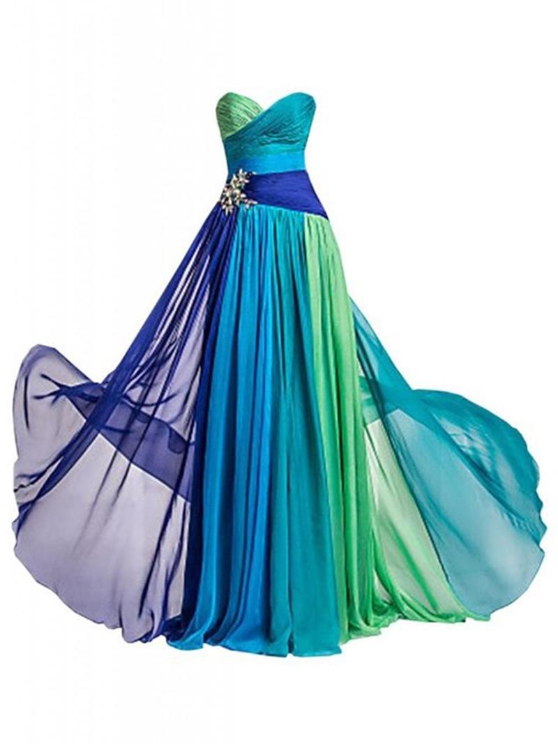 Ericdress Chiffon Beading Color Block Prom Dress