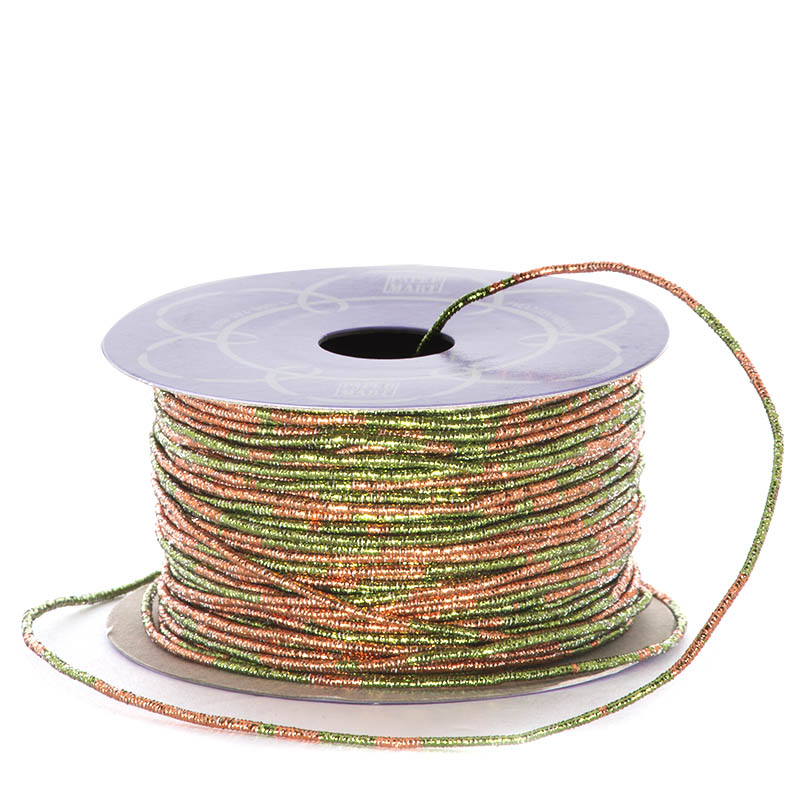 Metal Sparkle 1.5mm X 50 Yards Green/Copper Variegated Metallic Cord by Ribbons.com
