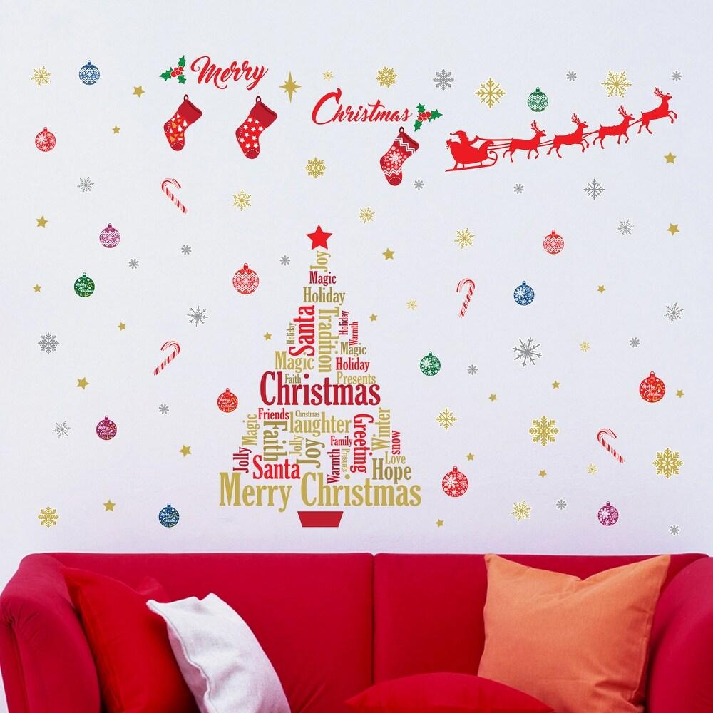 Walplus Wall Sticker English Quotes Christmas Decoration Set Wall Art (Red)