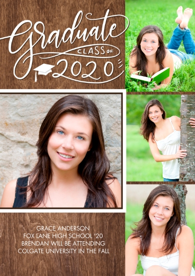 2020 Graduation Announcements 5x7 Cards, Premium Cardstock 120lb with Rounded Corners, Card & Stationery -Graduate 2020 Swirl Collage by Tumbalina