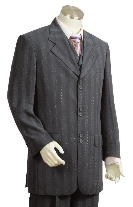 3 Piece 6 Button  Charcoal Vested Zoot Suit Mens