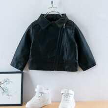Toddler Girls Zip Up PU Leather Jacket