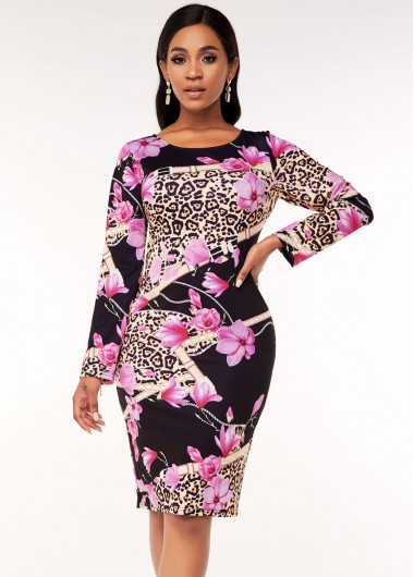 Wedding Guest Dress Round Neck Leopard and Floral Print Dress - M