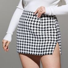 Plus Houndstooth Slit Hem Tweed Skirt
