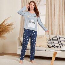 Conjunto de pijama con estampado de letra y dibujos animados