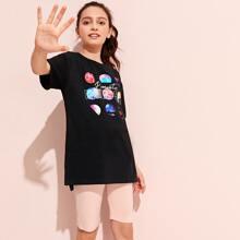 Maedchen T-Shirt mit Buchstaben & Galaxis Muster und abfallendem Saum