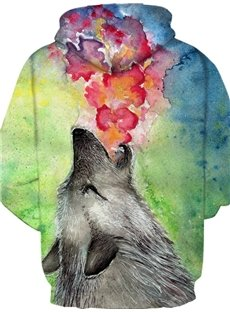 Casual Style Loose Model Polyester Pullover Clear Print 3D Painted Hoodie