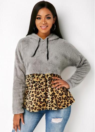 Leopard Drawstring Neck Long Sleeve Hoodie - L