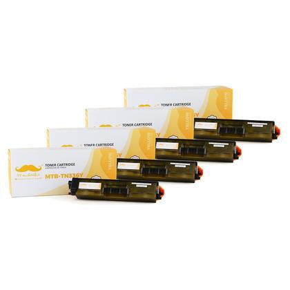 Compatible Brother TN336Y - TN-336 jaune cartouche toner de Moustache, 4 paquet - haut rendement