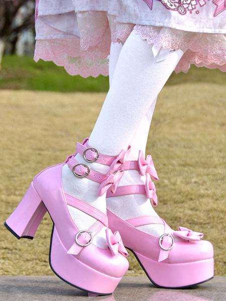 Milanoo Sweet Lolita Pumps Pink Bows High Heel Platform PU Leather Lolita Shoes