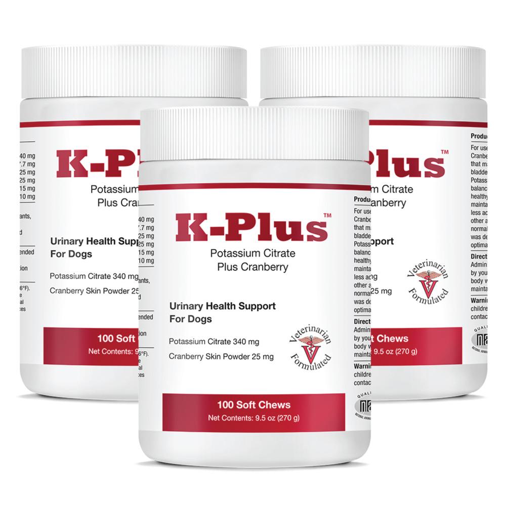 K-Plus Potassium Citrate Plus Cranberry, 3-Pack (300 Soft Chews)
