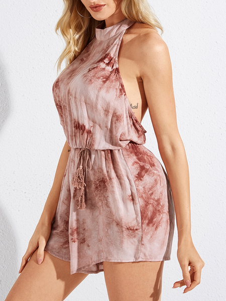 YOINS Red Tie Dye Backless Lace-up Design Halter Sleeveless Playsuit